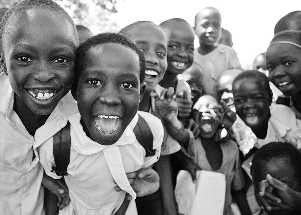 Happy African school children