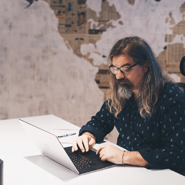 Jan coding away at his desk